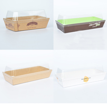 Various Rectangle Sandwich Hot Dog Puffs Paper Box Bread Transparent Packaging Box Bakery Packaging Box 10pcs/pack(China)