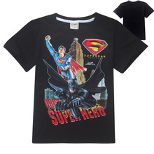 wholesale 5pcs/lot Children Boys Tops Tees Shirts New Batman vs Superman Children Short Clothes 100% Cotton Fashion Boys T Shirt