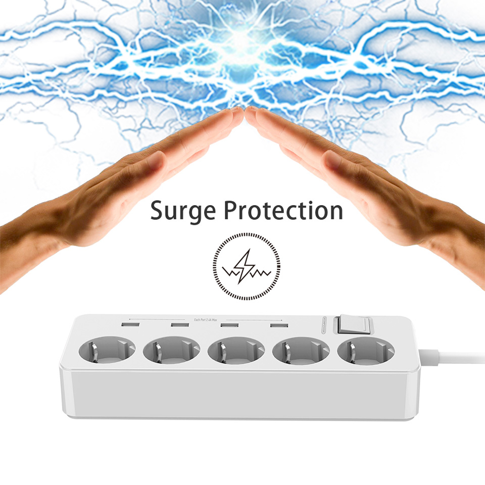 NTONPOWER MPS USB Extension Socket EU Plug Power Outlet 5 AC Surge Protector Overload Protection with 4 USB Smart Charging Ports 7