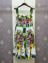 Beautiful Flowers Vintage Dress 2017 Spring Summer Fashion 100% Cotton High Waisted Midi Dress New Robe Mujer 2017