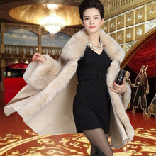 2017 Autumn Winter Women High Quality Fake Fur Collar Wool Cashmere Poncho Capes Knitted Cardigan Keep warm Sweater Swing Coat(China)