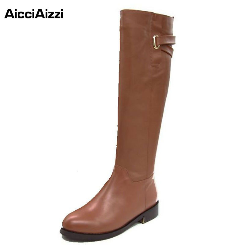 AicciAizzi Size 35-43 Winter Warm Over Knee Fur Buckle Brand Qaulity Real Leather Boots Lady Women Snow Shoe Footwear Boot R1494(China (Mainland))