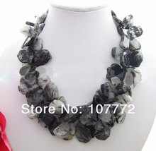 Rutilated Quartz &Crystal Necklace Free shipment(China)