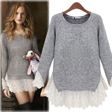 Beautiful New spring/autumn period lace stitching long-sleeved round collar knitting joker render unlined garment sweater 8(China)