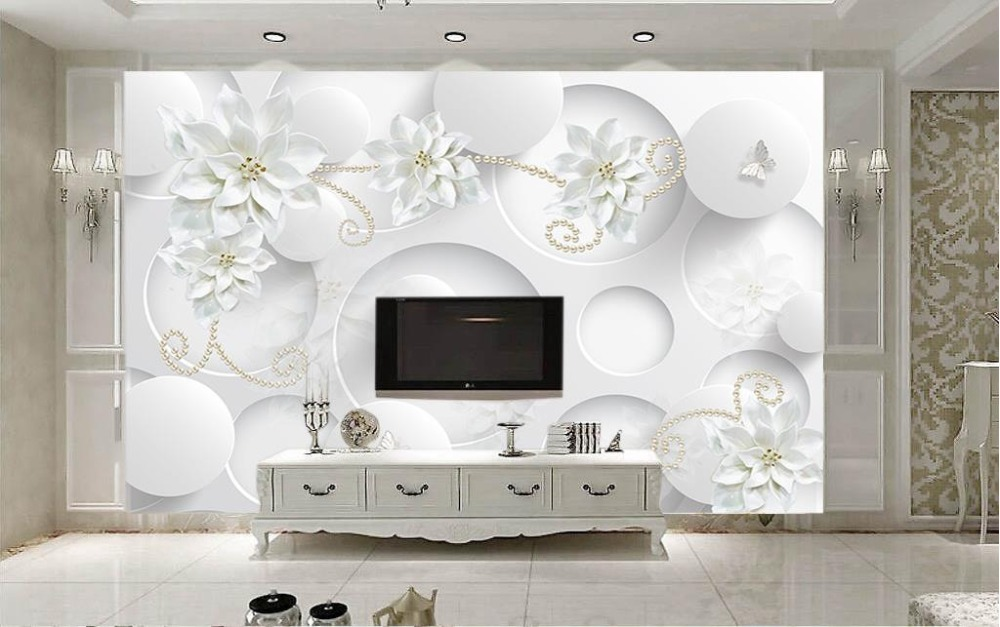 Custom Wall Painting 3D Wallpaper Living room White Photo Wallpaper Murals  jewelry flowers Decoration Background Wallpaper<br>