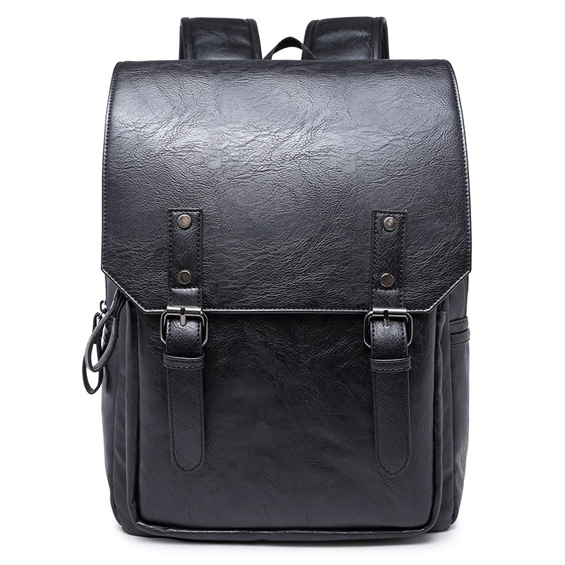 Vintage Men Business Backpacks Pu Leather School bag for teenager Casual Laptop Travel shoulder bags mochila Rucksack bag<br>