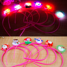 2017 Cute Flashing Christmas Headband LED Lighting Santa Claus Hair Band For Kids Adults Headwear Christmas Party Supplies(China)