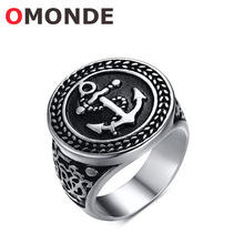 Buy OMONDE Men's Fashion Jewelry Black Round Stainless Steel Boat Anchor Ring Party Vintage Finger Rings Man Gentleman for $3.98 in AliExpress store