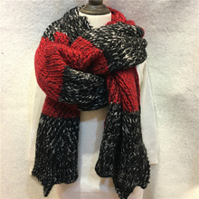 Women Space Dyeing Handmade Scarf Wrap Mohair Angora Knitted Shawl And Scarf Crochet Stripe Line Pashmina Scarves Stole YG467(China)