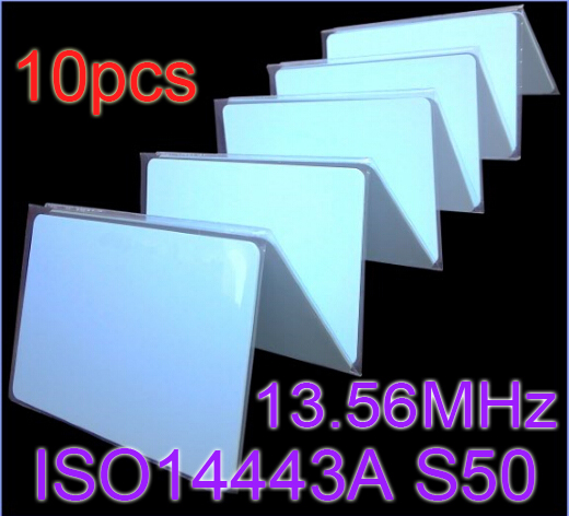 10pcs/Lot RFID Card 13.56Mhz ISO14443A MF S50 Re-writable Proximity Smart Card NFC Card 0.8mm Thin For Access Control System<br><br>Aliexpress