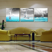 Home Art Decor Paintings Canvas Prints Ships Sail On Sea Grey sky Blue Seascape Wall Pictures For Room Decor (With No Frames)