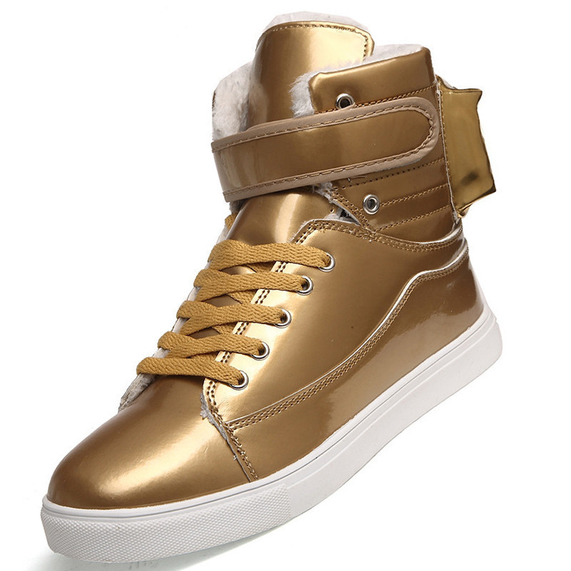 2015 New Men Shoes Golden High Top MenS Casual Shoes British Gold And Silver Winter Shoes Men Big Yards 46 Boots Students Shoes<br><br>Aliexpress