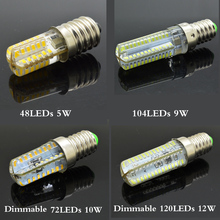 Silicone Dimmable E14 LED Lights AC 220V 48-120 LEDs Clear Corn Bulb Lamp For Crystal Chandelier Light SMD3014 Led Light Bulb(China)