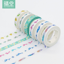 Creative Cute Feather Leaves Cherry Whale Decorative Adhesive Tape Masking Washi Tape DIY Scrapbooking School Office Supply