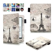 For 2016 New Kindle Touch 8th Generation Ereader Ebook Smart Case Color Printed Pu Leather For kindle 6'' case +Pen