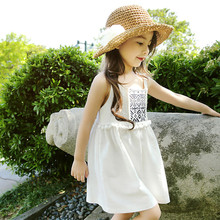 Summer Flower Pattern Printed Baby Girls Dress Vintage Floral White&Blue Beach Sundress for Girls Bohemia Linen Dresses