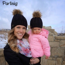 Partisig Brand 2017 Baby Hat Crochet Winter Hat For Baby And Mother Faux Fur Ball Caps Children's Winter Hats