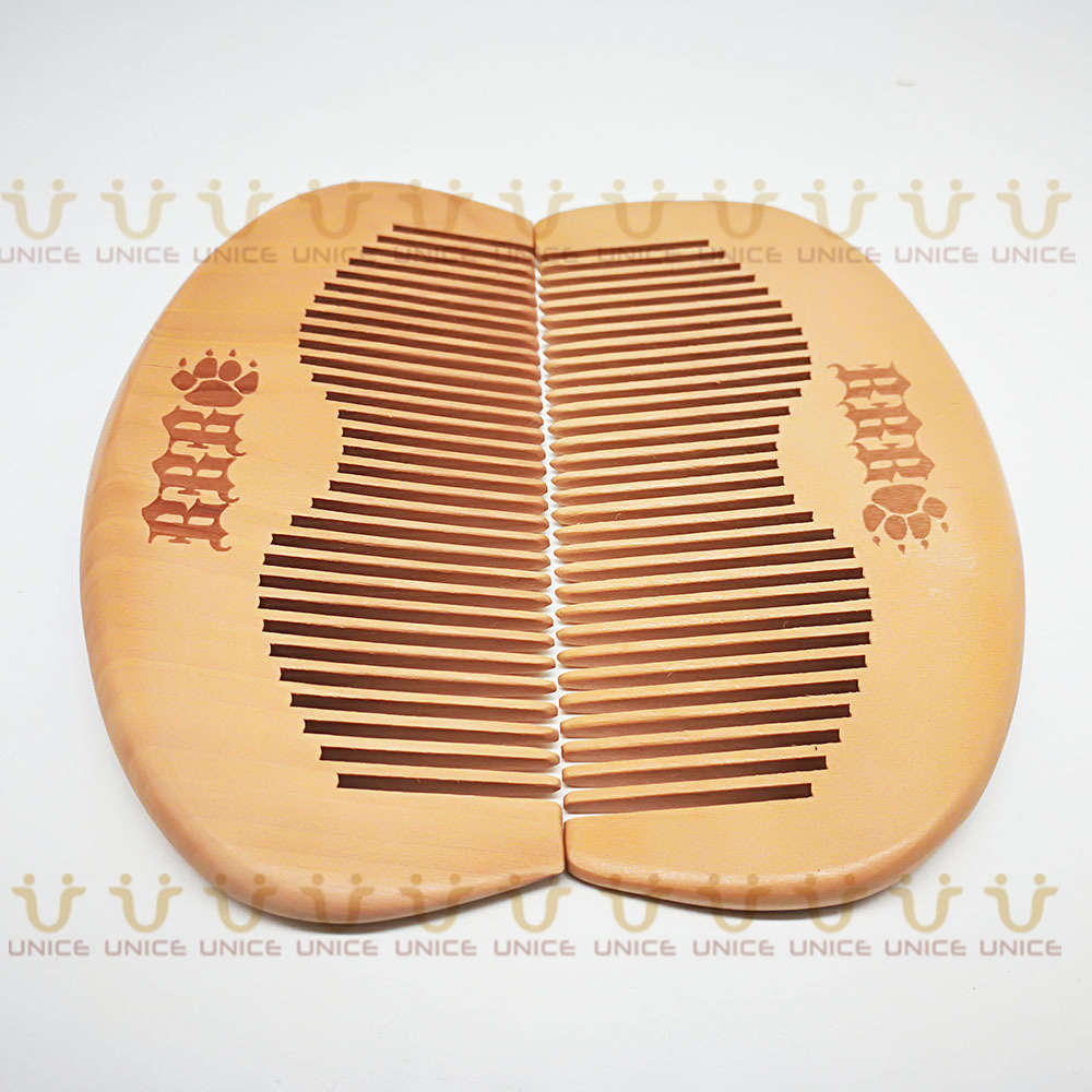 100pcs/lot Your LOGO Customized Private Label Combs Hair Beard Wood Comb for Men & Women for Barber Shop Retail Case 48