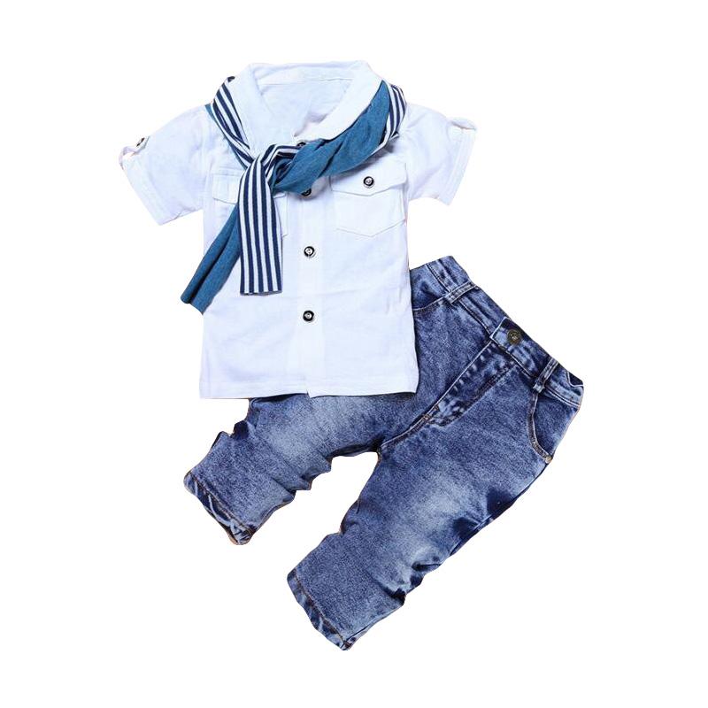 Little Boys Shirts Button Down Clothing Sets Plaid Top Jeans Pants 3-8 Years