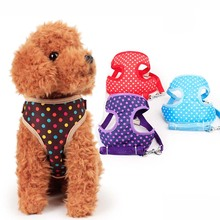 Pet Cat Small Dog Harness Quick Release No Pull Dog Harness Leash Set Cute Dot Puppy Soft Mesh Padded Vest Pet Leads S L Size