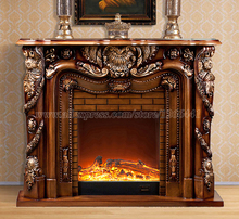 deluxe fireplace W150cm European style wooden mantel plus electric fireplace insert burner artificial LED optical flame