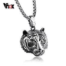 Vnox Tiger Necklaces & Pendants	Stainless Steel Men Jewelry Animal Style Punk Cool Jewelry 24inch Chain