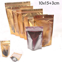 10x15+3cm(3.9''x5.9'') 200PCS one side matte clear foil silver stand up zipper bag ,gift Gold Standup ziplock Packing Pouch(China)