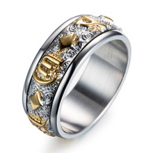 "Monla Mens Tri-color Stainles Steel Rings Tibetan Buddhist Six True Syllable Mantra ""Om Mani Padme Hum"" Spinner Ring"