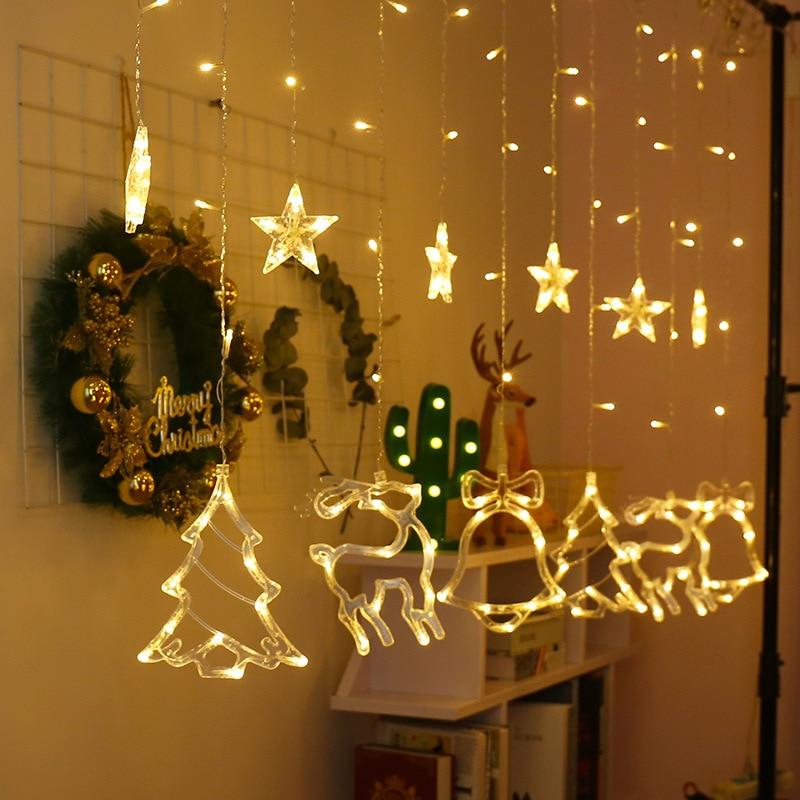Ornament LED Light Strings Wedding Lights Christmas Tree Shape Hanging Garland