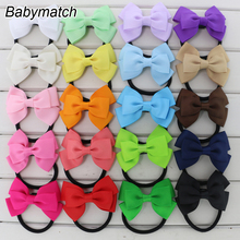 Babymatch 40pcs/lot 3'' Ribbon Hair Bows Girls' Bow Knot Barrettes Head Rope Ponytail Holder Hair Accessories Free Shipping(China)