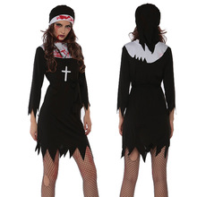 Bloody Sister Cosplay Nun Costume Halloween Costume for Woman Fantasia Disfraces Exotic Apparel Game Uniforms
