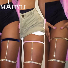 Summer Beach Sexy Ribbon Velvet Crystal Thigh Leg Body Chain Beach Jewelry Belly Body Chains Waist Link Necklace for Women(China)