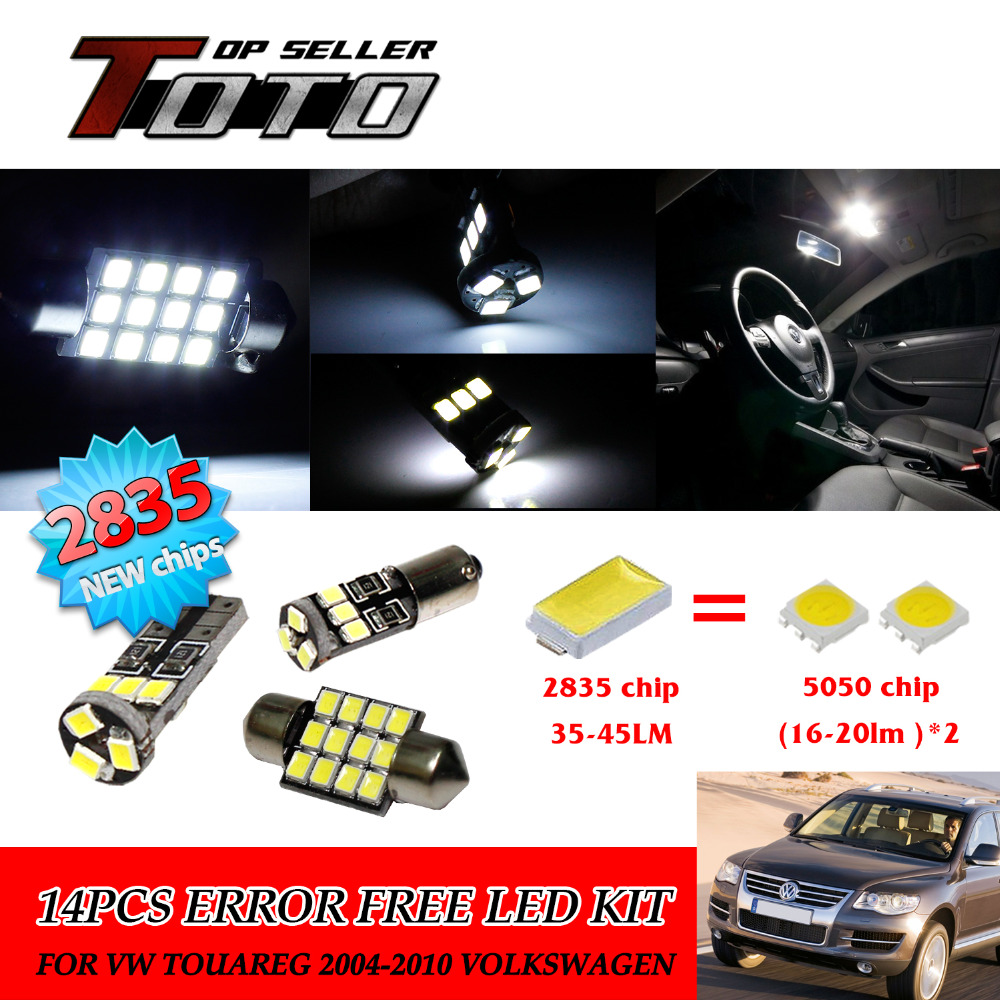 15x LED Car Auto Interior Canbus Dome Map Reading Light White 2835 Chips Kit For VW Touareg 2004-2007 2009-2010 #111<br><br>Aliexpress