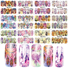 New 12 Sheets Mix Owl Dream Catcher Nail Art Water Transfer Decal Sticker For Nail Art Tattoo Slider Label JIA1309-1320