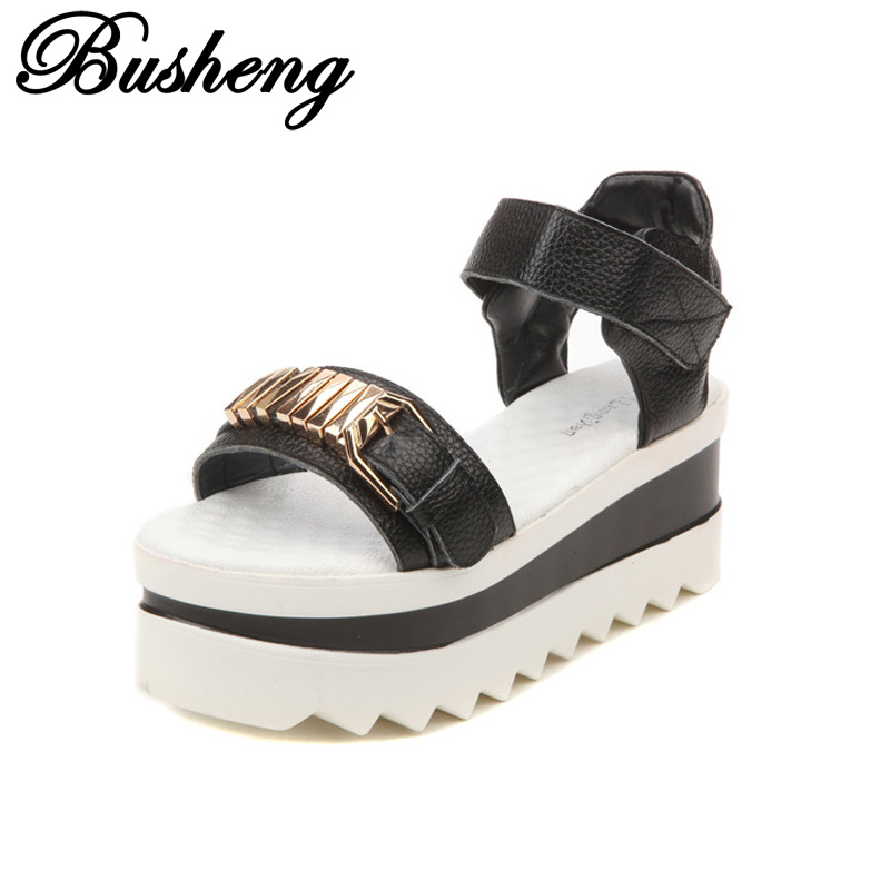 2017 New Women Summer Shoes Wedges High Heels Sandals Genuine Leather Platform Casual Sandals for Women Black White Shoes Woman<br><br>Aliexpress