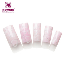 2015 New brand pink heart glitter pattern design airbrush nail art tips 70pcs high quality professional false fingertnails