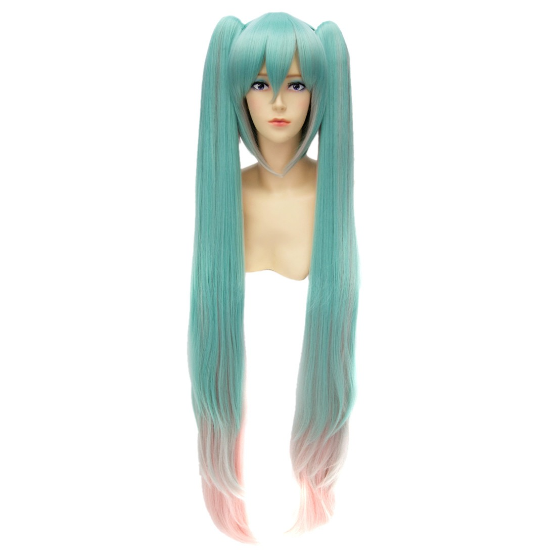 Long Straight Double Ponytail Gradient Color Cosplay Anime Hairpieces Wigs<br><br>Aliexpress