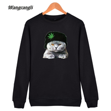 WANGCANGLI 2017 animals funny cat hoodie Sweatshirts women Autumn winter Sweatshirts women XXXXL Clothes Top cute cat print