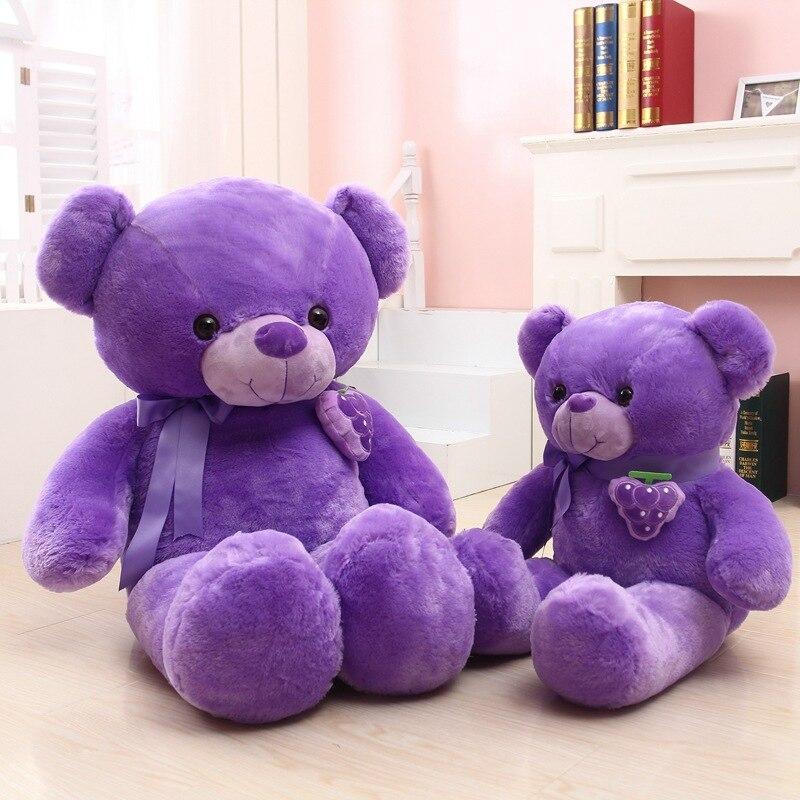 purple teddy bear plush toy fruit grape design bowtie bear doll throw pillow birthday gift w5276<br>