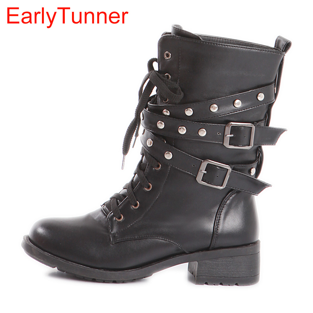 New Sale Hot Sexy Black Women Combat Ankle Riding Boots Ladies Martin Shoes Med Square Heels Lace up A58-2 Plus Big Size 10 43<br>