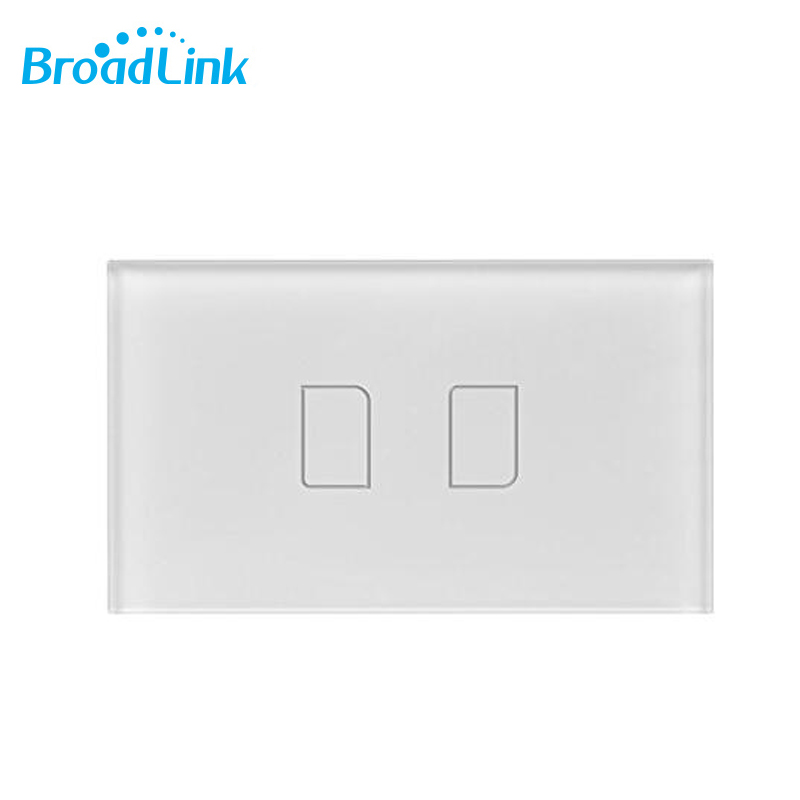 BroadLink TC2 170V 2 Gang Touch Panel Remote Control Smart Wall Light Switch Glass Crystal White, standard size (TC2-2-US170v)<br>