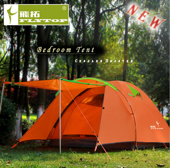 FlyTop Large Camping Tent 4 person New 2014 Outdoor Equipment Barraca Family Tourism Beach Party Tent Four-season Waterproof<br><br>Aliexpress