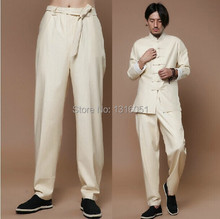 Free Shipping New Arrival Chinese Tradition Men's Solid Linen Trousers Pants M L XL XXL XXXL 8817(China)