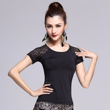 2017 New Sex Latin Dance Top Women Black M/L/XL Lace Backless Shirt Stage Regatas Femininas Rumba Cow Boy Dancer MD6207(China)