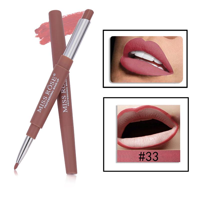 33 8 Color Double-end Lip Makeup Lipstick Pencil Waterproof Long Lasting Tint Sexy Red Lip Stick Beauty Matte Liner Pen Lipstick