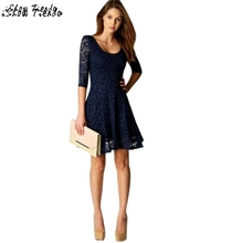 Women Dress Lace Floral Crochet Party Dresses A Line Women Winter Clothing Lace Dress Vestido De Festa #7(China)