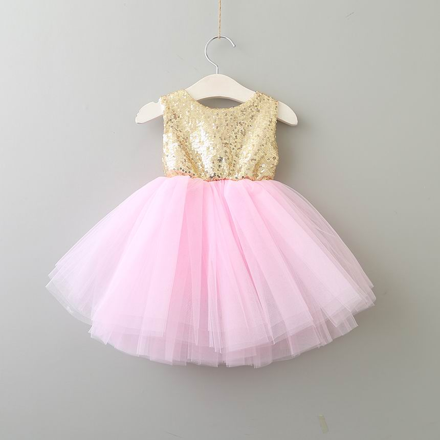 2018 Summer New Girl Dress Sequins Backless Love Heart Tulle Princess Dress Children Clothing 1-5Y SH042