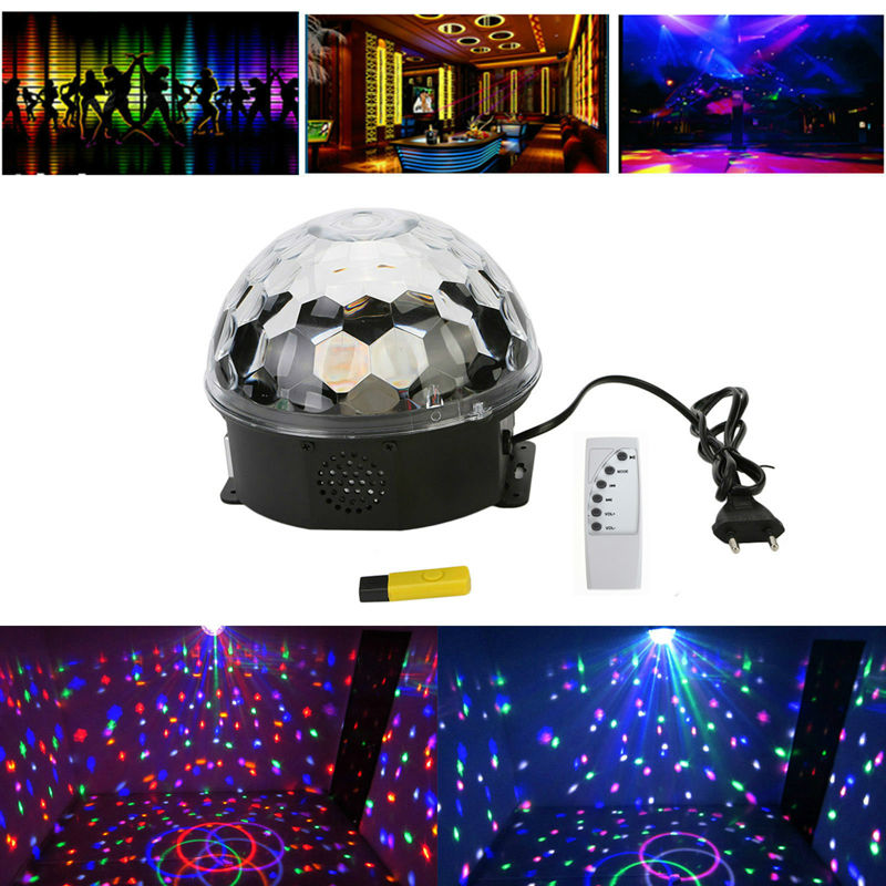 Mini RGB LED MP3 DJ Club Pub Disco Party Crystal Magic Light and Music Ball Stage Effect Light with USB Disk Remote Control LE05<br><br>Aliexpress