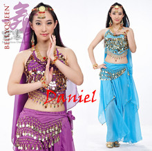 belly dance costume professional 5 piece(head chain+bra+veil+waist chain+skirt) belli dancer free size sexy costumes free ship