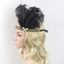 Women Adult Rhinestone Black Yellow Ribbon Party Feather Headband Vintage Hair Accessory Headpiece